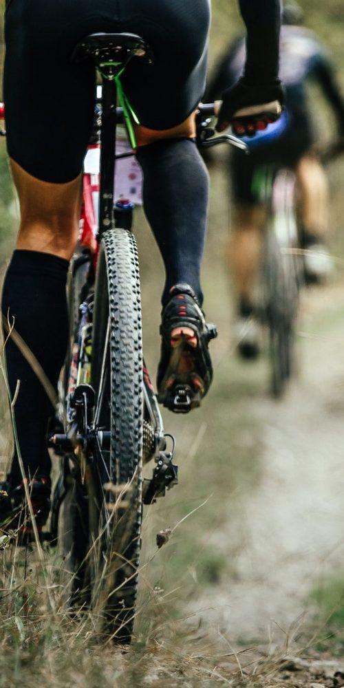 closeup of rear wheel sports mountainbike